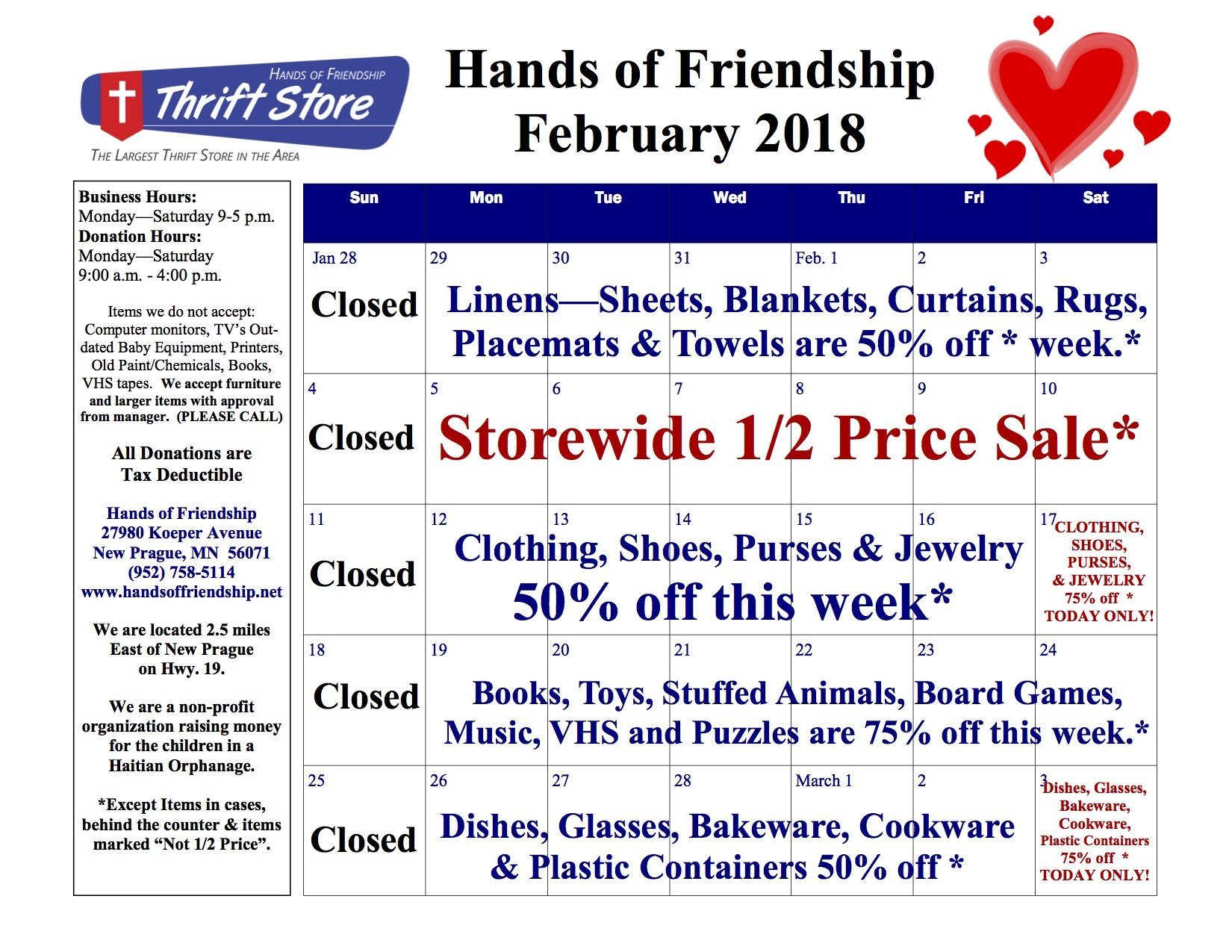 2018 February Sales Calendar