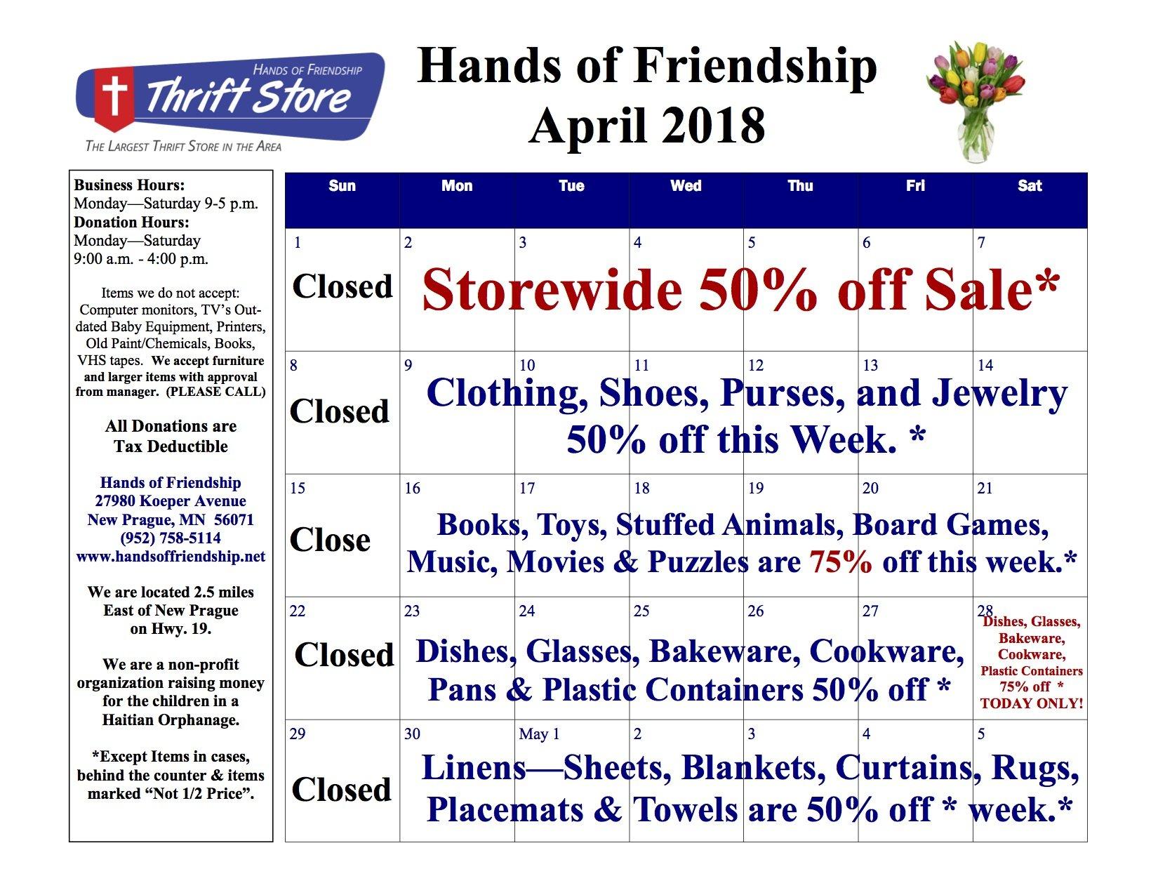 2018 April Sales Calendar
