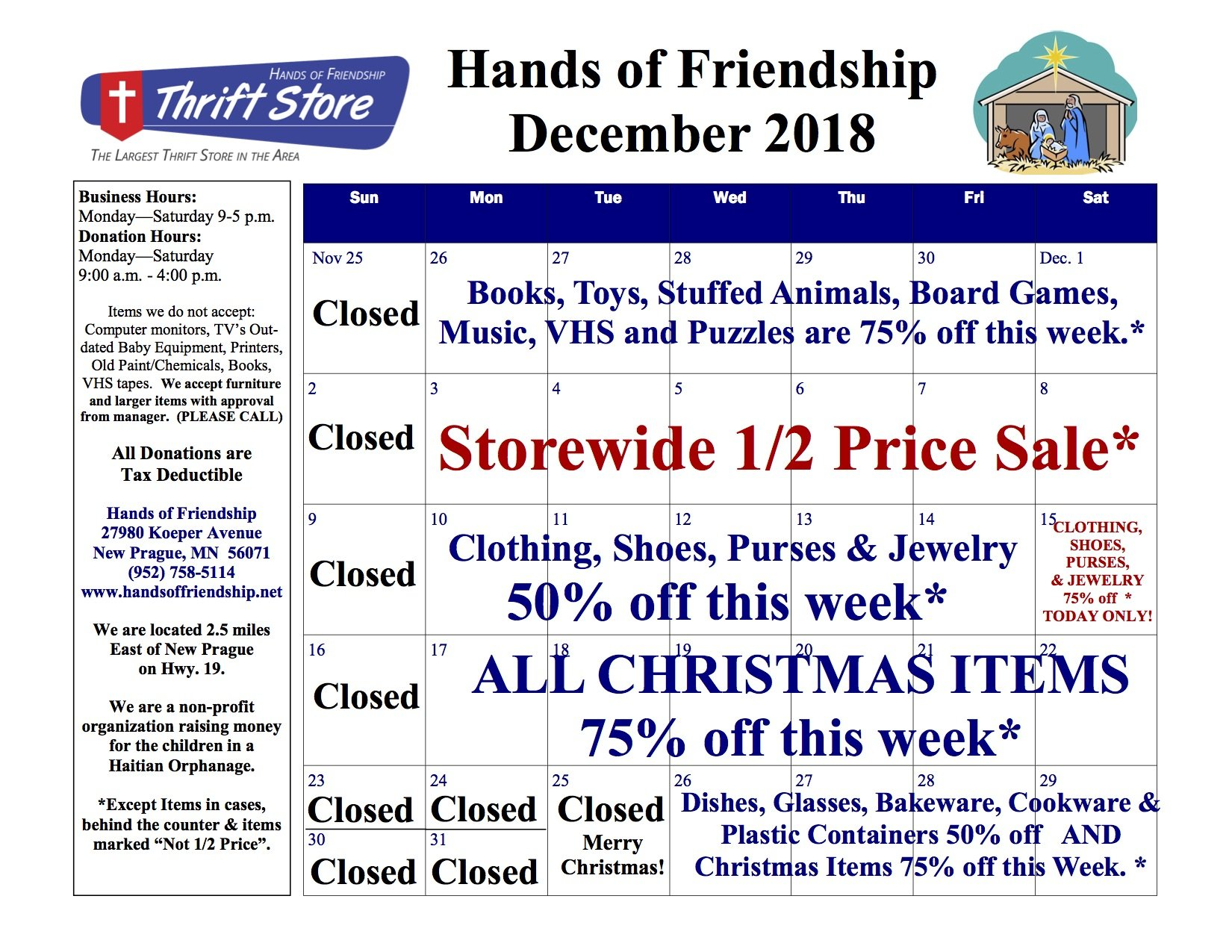 2018 November Sales Calendar