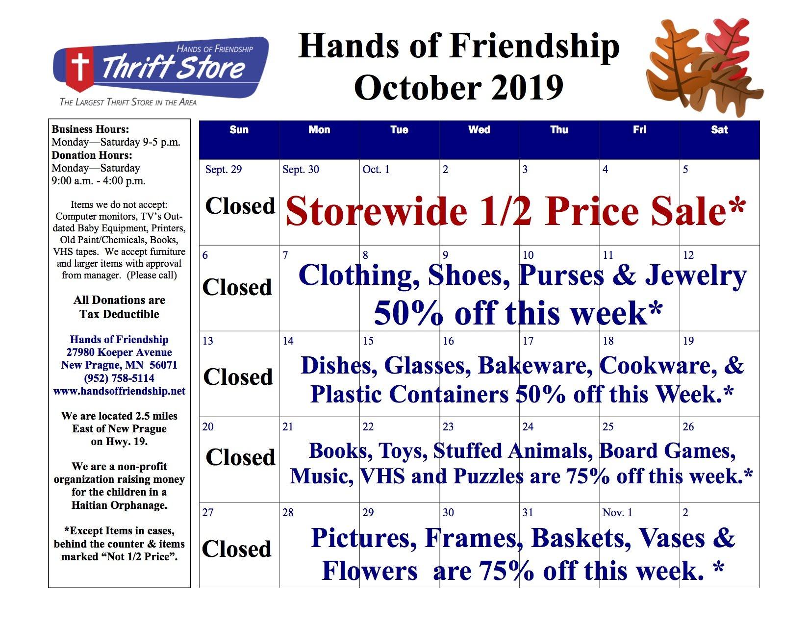 2019 Oct. Sales Calendar